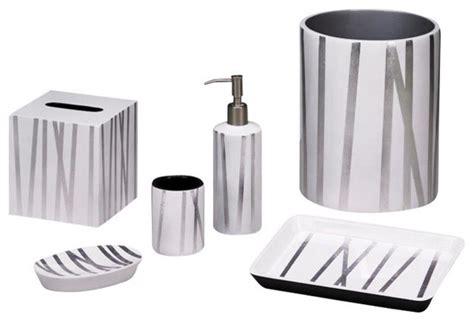 Modern Silver Bathroom Accessories Grass Styx White Silver Bath Set Contemporary Bathroom