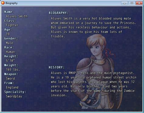 Rpg Biography Generator   scene biography rpg maker xp misc system game dev