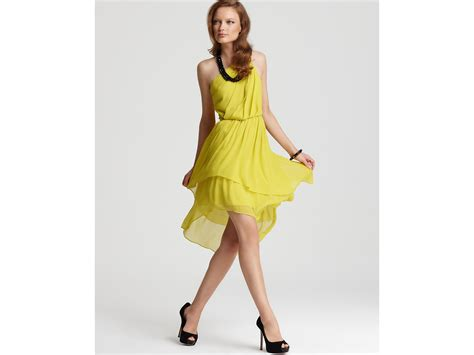 Cleeo Dress max cleo dress asymmetrical one shoulder in yellow