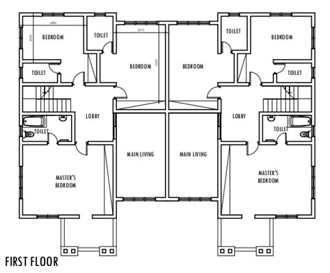 semi duplex house plans 4 bedroom semi detached duplex first floor plan duplex pinterest semi detached