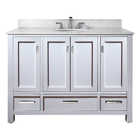 48 Inch Bathroom Vanity White Modero White 48 Inch Sink Vanity With White Marble Top Avanity Vanities