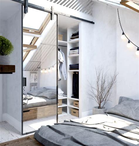 Garage Apartment Design Ideas ma a garderoba w aran acji bia ej sypialni zdj cie w