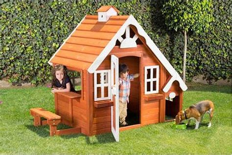 toy dog house outdoor play house kids backyard cottage toy dog pet toy wooden bench gift new ebay