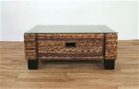 banana leaf abaca coffee or center table with glass on top