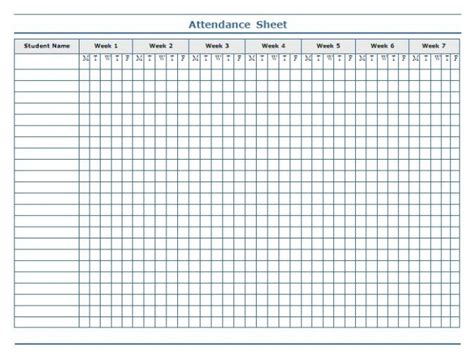 Minimalist Template Of Weekly Attendance Sheet In Excel For Student With 7 Weeks Column Thogati 7 Attendance Calendar Templates Free Word Pdf Format Free Premium Templates
