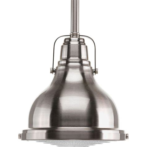 Nickel Mini Pendant Light Progress Lighting Fresnel Collection 1 Light Brushed Nickel Mini Pendant P5050 09 The Home Depot