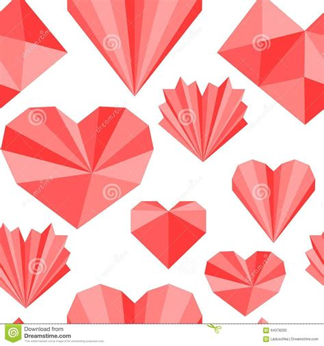 heart pattern origami seamless pattern stock vector image 64378205