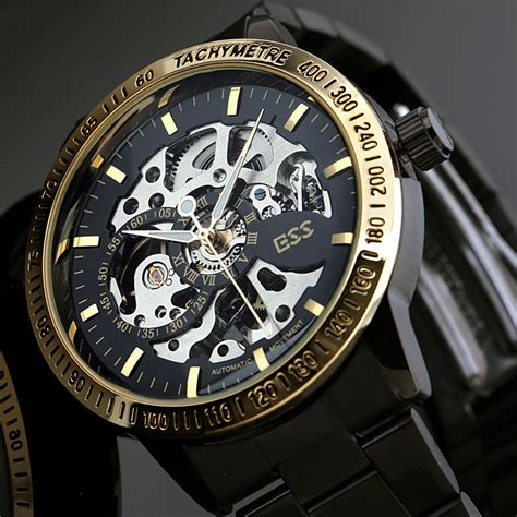 Jam Tangan Luxury Mens Stainless Steel Band Gold Sport Analog Quart ess skeleton stainless steel automatic mechanical wm399 black gold jakartanotebook