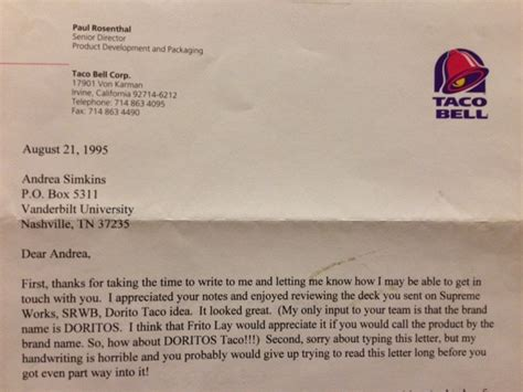Business Letter Launching New Product ex taco bell interns claim they invented the doritos taco