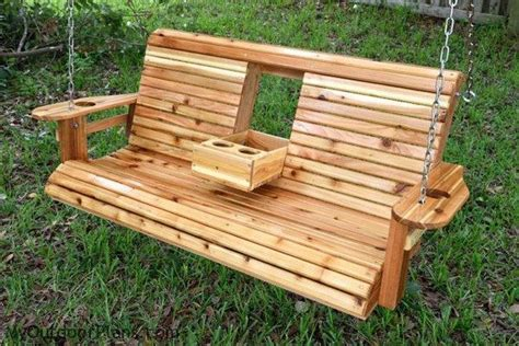 Build a wood porch swing with cup holders diy projects for everyone