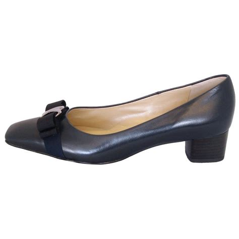 kaiser balla navy leather court shoes low heel