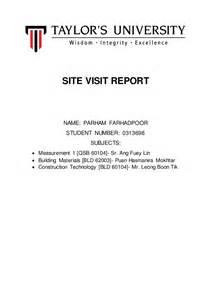 Sample Of Visit Report Site Visit Report