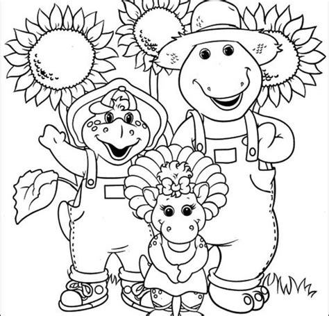 barney family farm colouring pages cartoon download free barney coloring pages