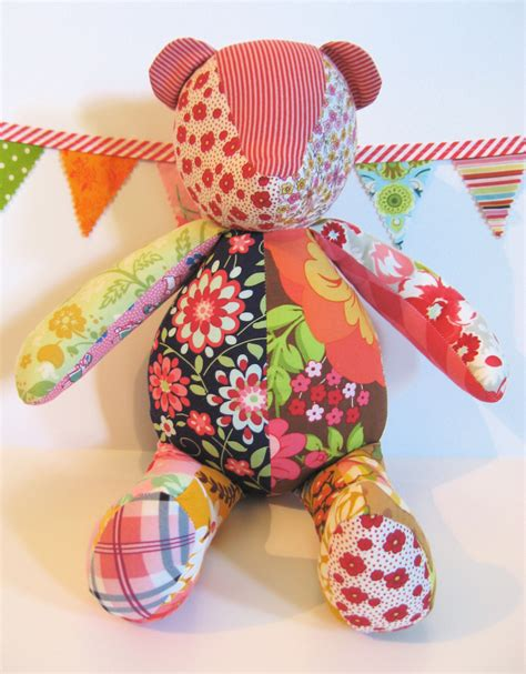 Patchwork Teddy Bears - soft floral patchwork teddy plush stuffie