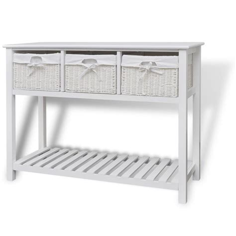 Kitchen Console Table White Storage Sideboard Console Table Kitchen Buffet Drawers Cabinet Baskets Uk Ebay