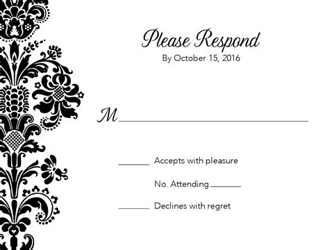 black and white border cards template black damask wedding response card