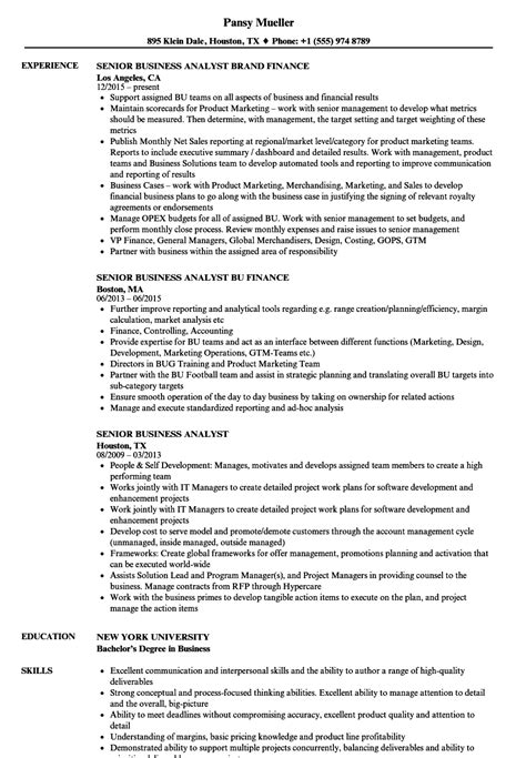 Senior Business Analyst Resume by Senior Business Analyst Resume Sles Velvet