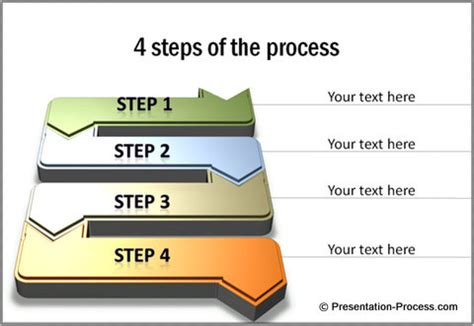 process steps template cool 3d powerpoint arrows