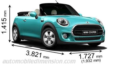 dimensions of mini cars showing length width and height
