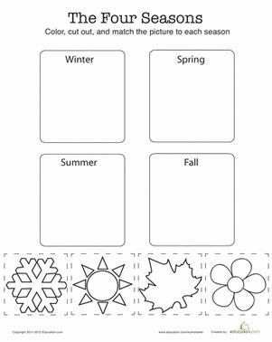 kindergarten activities on seasons match the four seasons worksheet education com