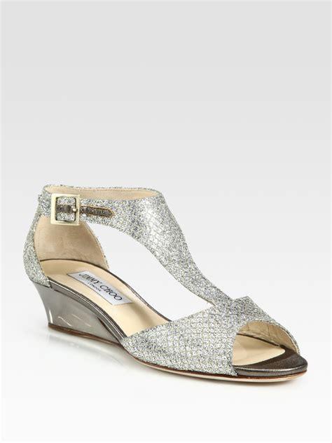 jimmy choo treat glitter tstrap wedge sandals in silver