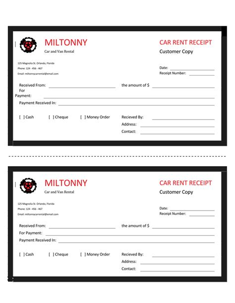 16 Free Taxi Receipt Templates Make Your Taxi Receipts Easily Car Rental Receipt Template
