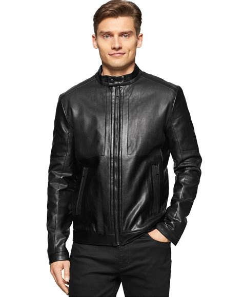 Calvin Klien Leather lyst calvin klein perforated faux leather jacket in