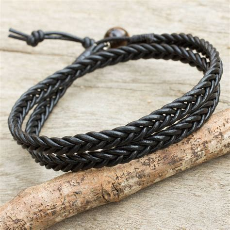 Unicefs Handmade Thai Notecards by Unicef Market Mens Braided Black Leather Wrap