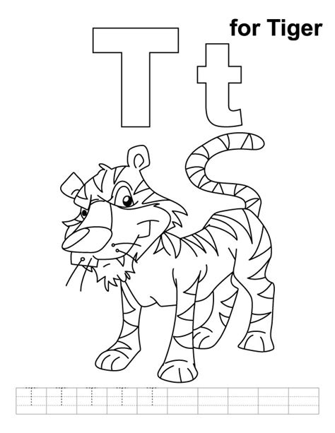 tiger t coloring page t for tiger coloring page with handwriting practice