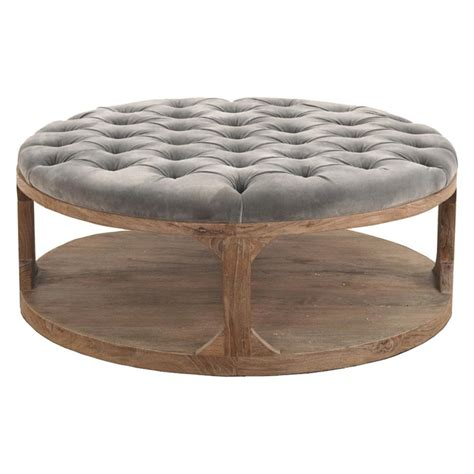 round tufted ottoman coffee table marie french country round grey tufted wood coffee table