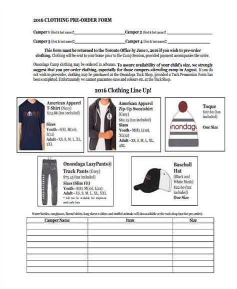9 clothing order forms free sles exles format
