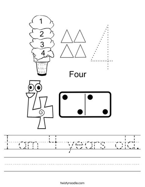 I Am 4 Years Old Worksheet Twisty Noodle Printable Worksheets For 4 Year Olds