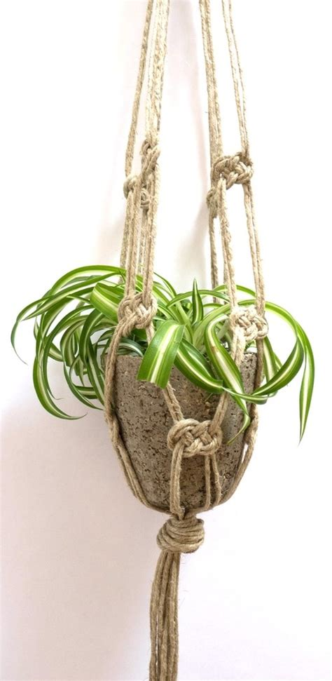 Macrame Knots For Plant Hangers - image of single knot macrame plant hanger macrame