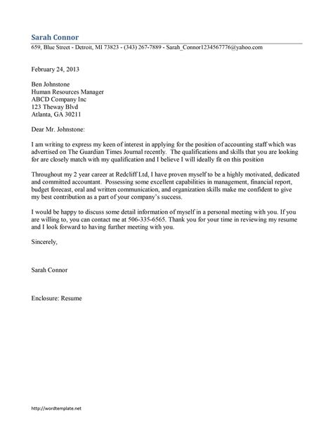 Accounting Staff Cover Letter Template   Free Microsoft