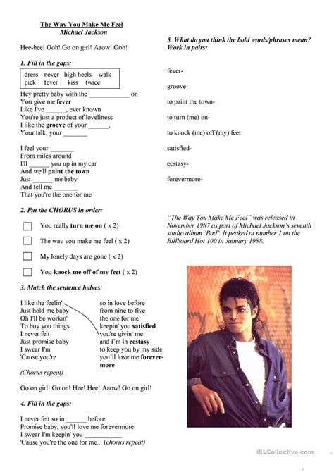 english teaching worksheets michael jackson michael jackson quot the way you make me feel quot song activity