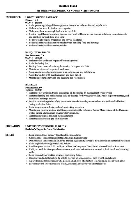 Barback Resume by Barback Resume Sles Velvet