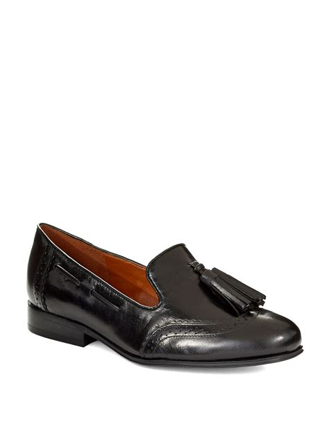 wingtip loafers nine west ariel leather wingtip loafers in black lyst