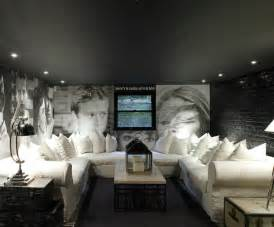 rooms painted black slipcovered sectional contemporary media room 1st option
