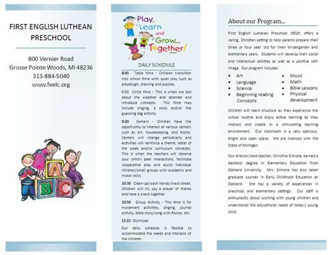 preschool brochure template preschool lutheran church