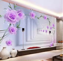 Purple Wall Mural elegant photo wallpaper custom 3d wall murals purple flowers wallpaper