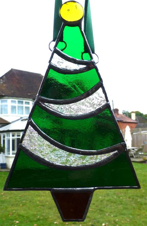 stained glass christmas tree festive ornament by
