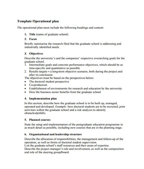 operational plan template sle business plan business