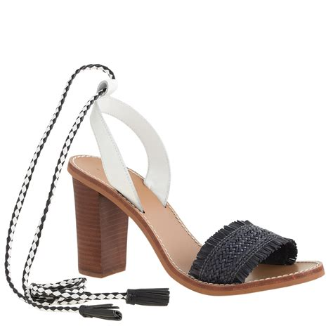 high heel sandals with ankle j crew raffia ankle tie high heel sandals in black lyst