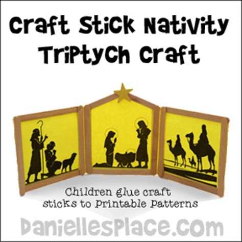 christmas craft for kids nativity triptych craft stick
