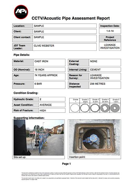 advanced pipe inspection sle inspection reportsle