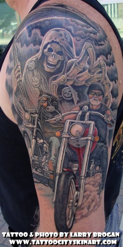 biker tattoos running from the reaper by larry brogan tattoos