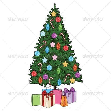 vector cartoon christmas tree with decorations by nikiteev