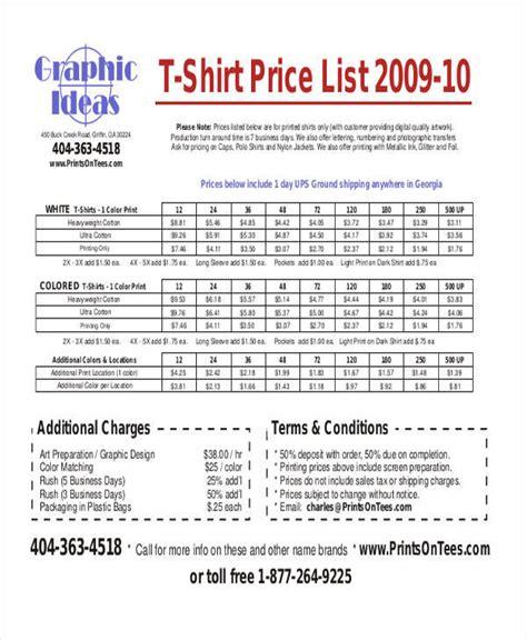 T Shirt Price List Template 45 Price List Sles Templates Sle Templates
