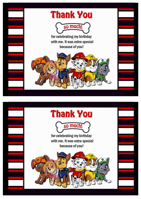 printable thank you cards paw patrol paw patrol thank you cards birthday printable