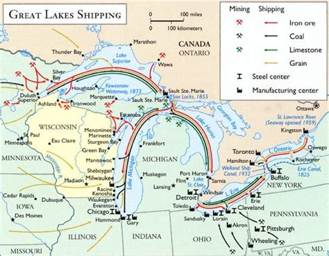 boat shipping map a map of great lakes shipping routes during the mid 20th